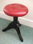 Black with Red Leather Piano Stool