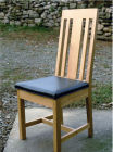 Oak Dining Chair with Green Leather Seat